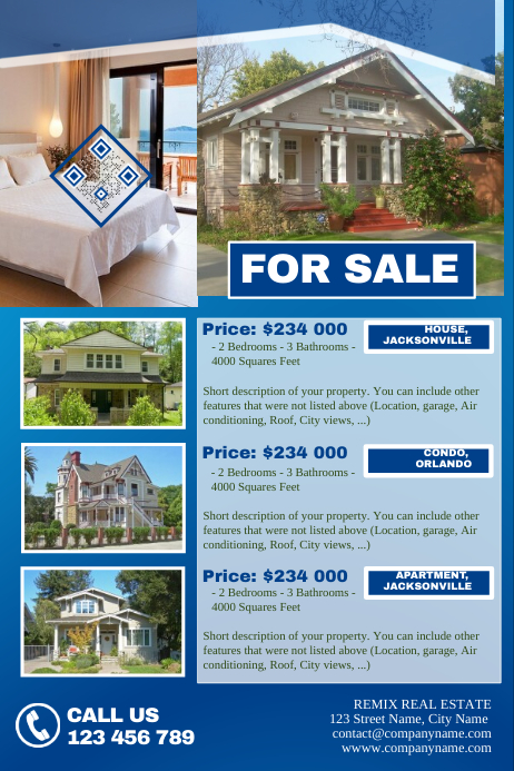 Home listing flyer template - Blue | PosterMyWall