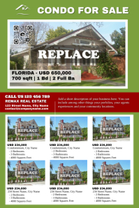 Home listing flyer - Eye catching colors - For 6 properties