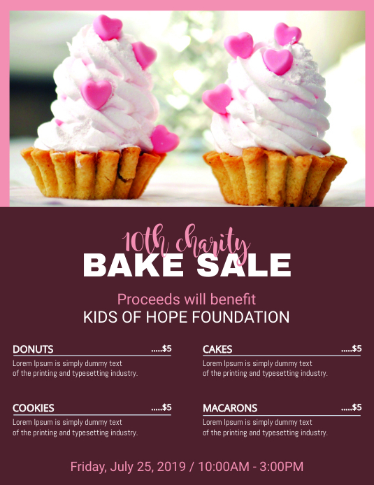 Home Made Bake Sale Social Media Template