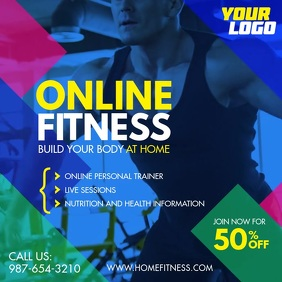 Home Online Fitness Workout Flyer Square Ad
