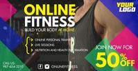 Home Online Fitness Workout square video Anúncio do Facebook template