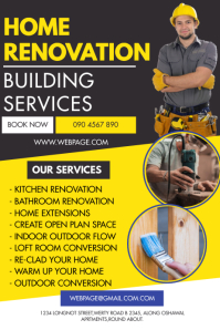 HOME RENOVATION FLYER Banner 4' × 6' template