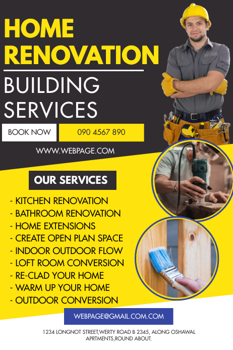 HOME RENOVATION FLYER Spanduk 4' × 6' template
