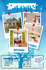 Home rental flyer - Blue