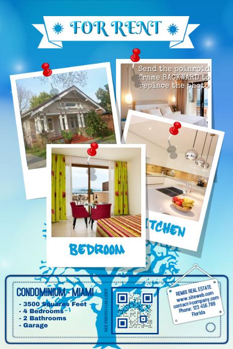 Home rental flyer - Blue