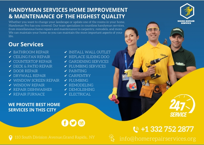 home repair services Kartu Pos template