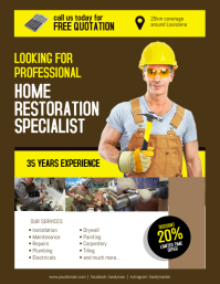 Home Restoration Contractor Specialist Flyer Poster