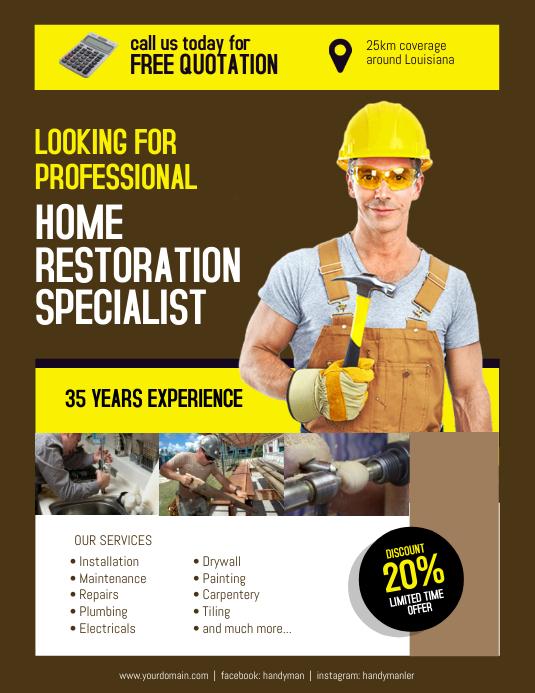 Home Restoration Contractor Specialist Flyer Poster
