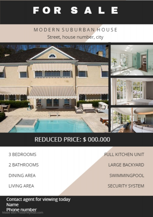 home sale flyer customize template