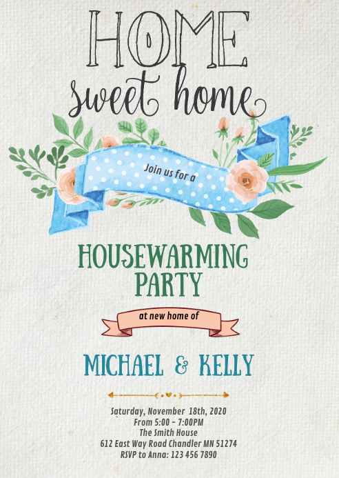 Home sweet home party theme invitation A6 template