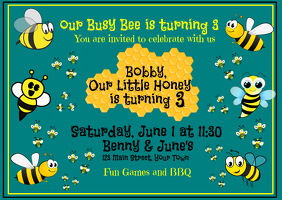 Honey Bee is 3 Invitation
