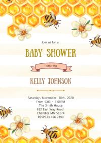 Honey bee shower invitation