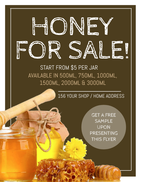 honey for sale flyer template