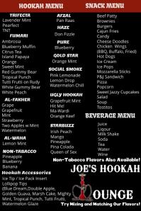 Hookah Lounge Menu