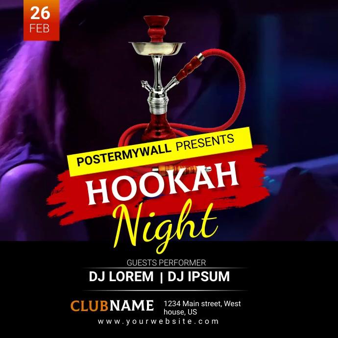 hookah night Instagram-opslag template