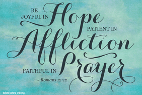 Hope Prayer Romans 12:12 Bible Verse Poster Home Decor Wall