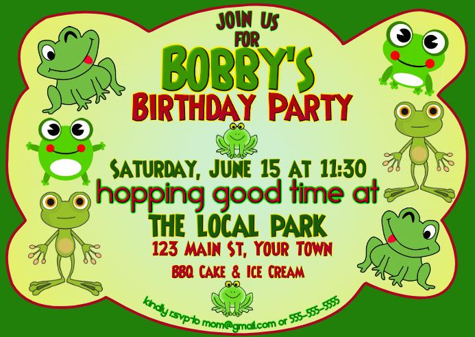 Hopping Good Time Birthday Invitation