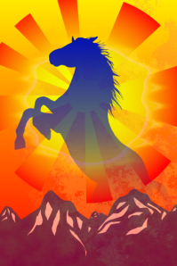 horse graphic design artistic poster template for decoration