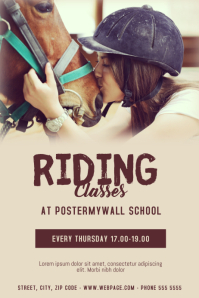 Horse riding classes flyer template