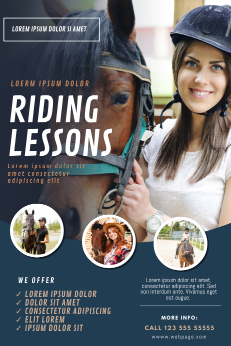 Horse riding lessons camp flyer template