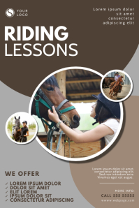 Horse Riding Lessons Flyer Design Template Poster