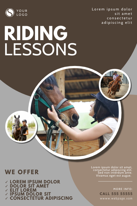 Horse Riding Lessons Flyer Design Template Plakat