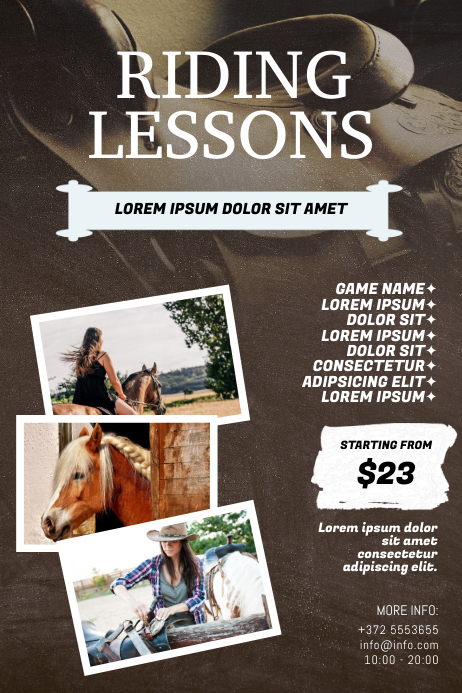 Horse riding lessons flyer template