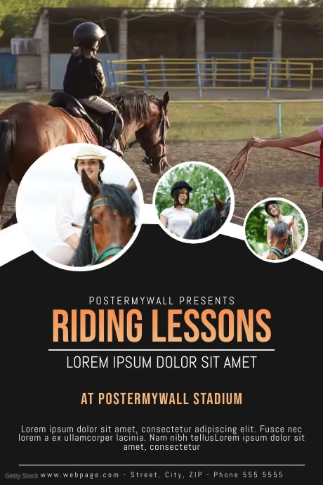 Horse Riding Lessons Video ad template Plakat