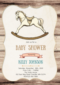 Horse rocking baby shower invitation