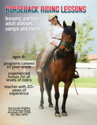 horseback riding lessons flyer template ad