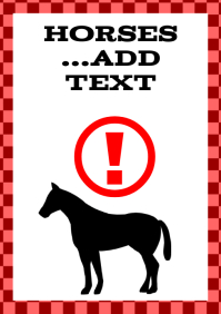 horses template standing horse attention sign