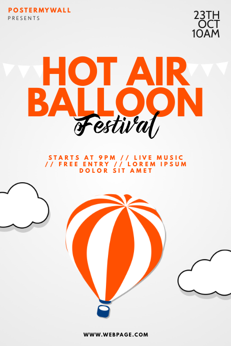 Hot Air Balloon Festival Flyer Template Plakat