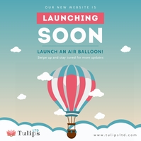 Hot air balloon website launch instagram post Instagram-opslag template