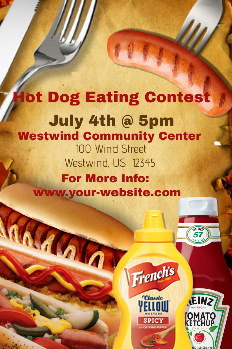 hot dog eating contest template postermywall. Black Bedroom Furniture Sets. Home Design Ideas