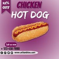 Hot dog flyer โพสต์บน Instagram template