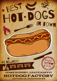 HOT DOG POSTER A4 template