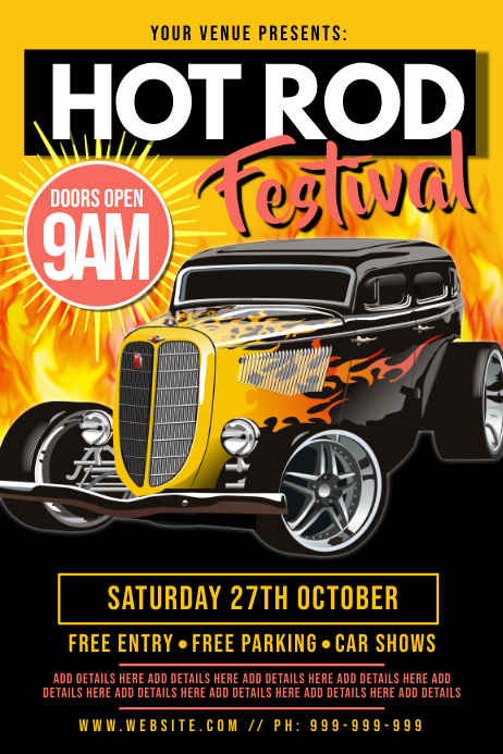 Hot Rod Festival Poster template