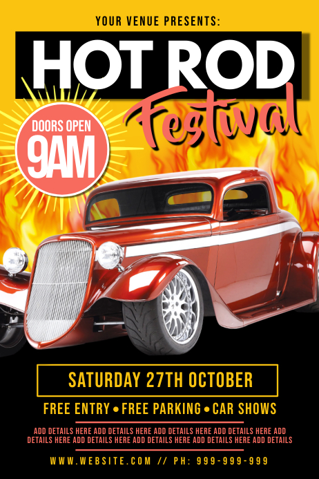 Hot Rod Festival Poster template