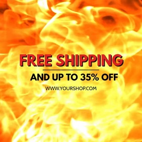 Hot Sale Fire Advert Video Price Off Discount Квадрат (1 : 1) template