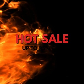 Hot Sale Fire Advert Video Price Off Discount Square (1:1) template