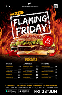 Hot Spicy Fast Food Menu Table Talker