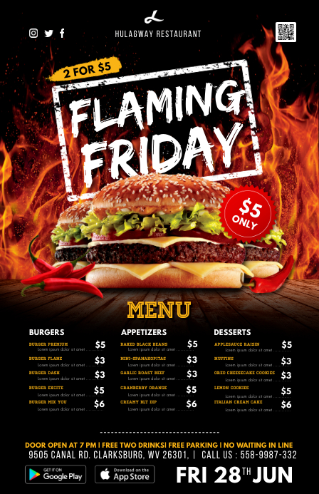 Hot Spicy Fast Food Menu Table Talker Halv side bred template