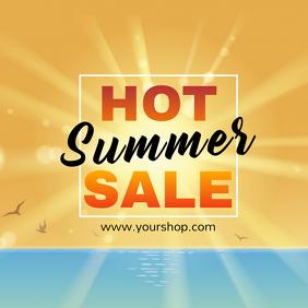 Hot Summer sale advert square beach shine sun promo advert