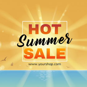 Hot Summer sale advert square beach shine sun promo advert
