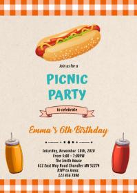 Hotdog birthday theme invitation A6 template