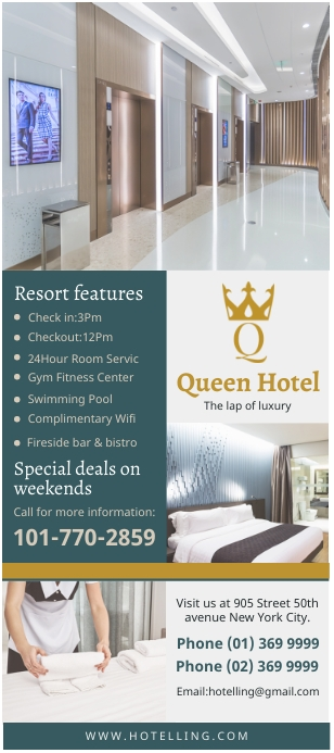 Hotel accommodation rack card template