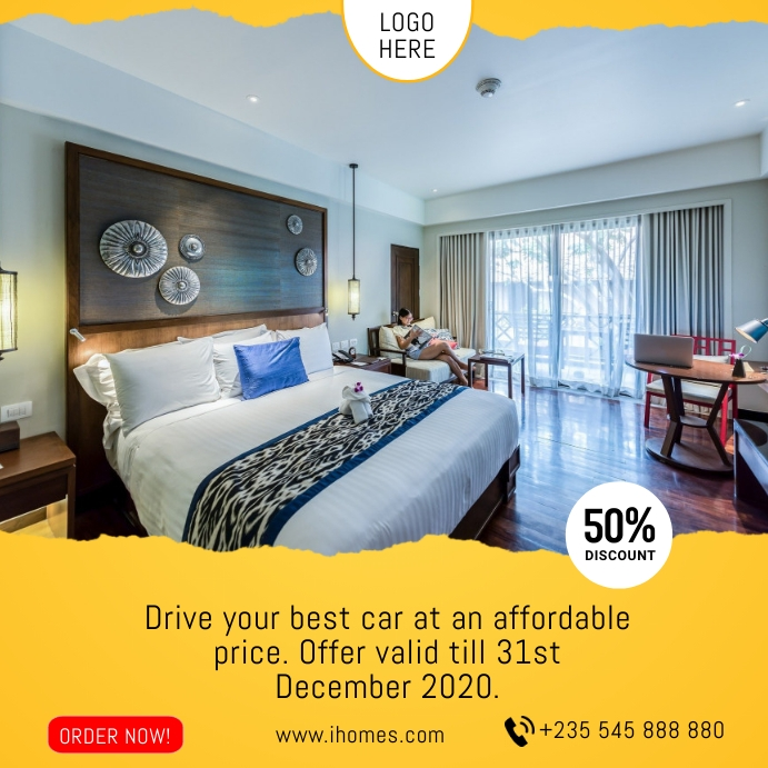 Hotel Accommodation Rental Flyer Template Cuadrado (1:1)