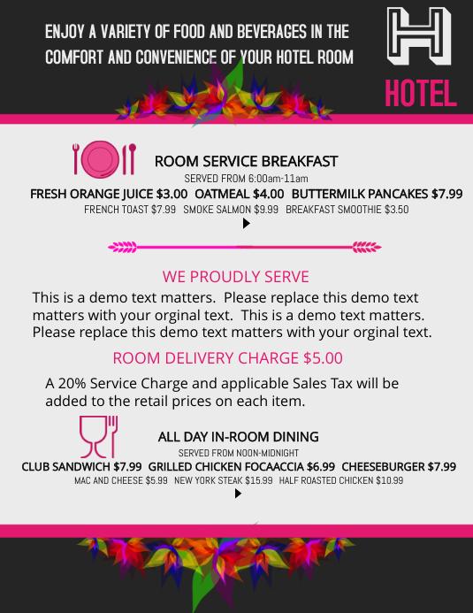room service menu template