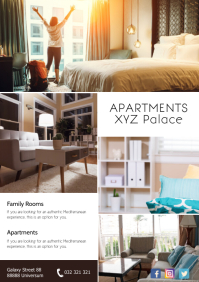 Hotel Promotion Apartments Airbnb Flyer Rooms A4 template