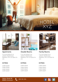 Hotel Promotion Bookings Sale Flyer Rooms A4 template